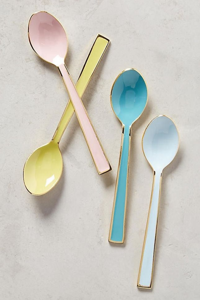 Update your kitchen with Anthropologie's home decor collection, like this set of pastel tea spoons.