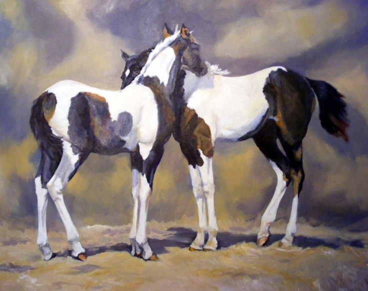Linda Jane Powell - A large oil painting.The subject is one dear to the artist's heart. Two closely related foals, one of which she has owned and trained. £1,200