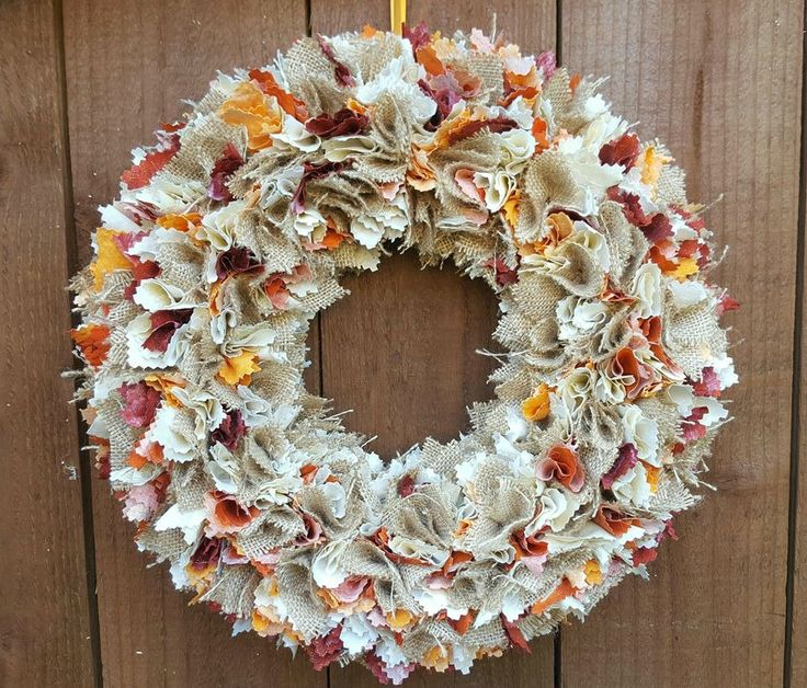 Rustic Autumnal Wreath Shabby Chic Style~Hanging Door Wreath for the Home~Wall Hanging Decoration~Farmhouse Hessian Wreath~Fall Wreath by ElizaGraceUK on Etsy