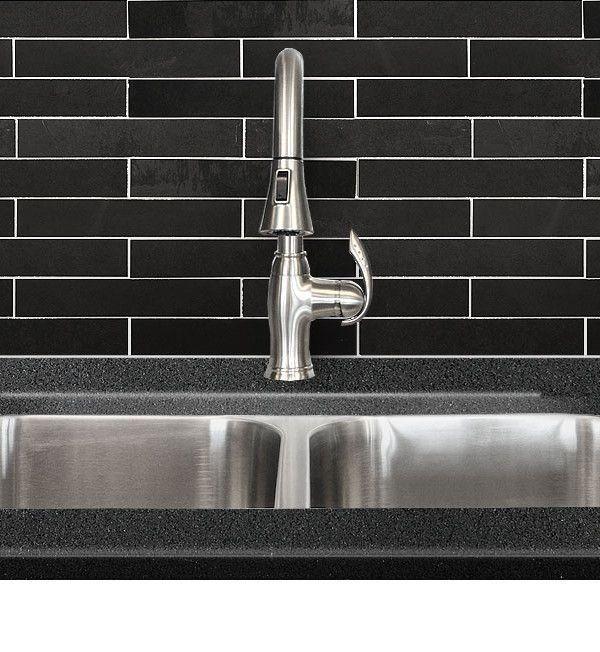 Black Dark Gray Slate Mosaic Kitchen Backsplash Tile Backsplash Com 1000 Mosaic Backsplash Kitchen Kitchen Tiles Backsplash Tile Backsplash