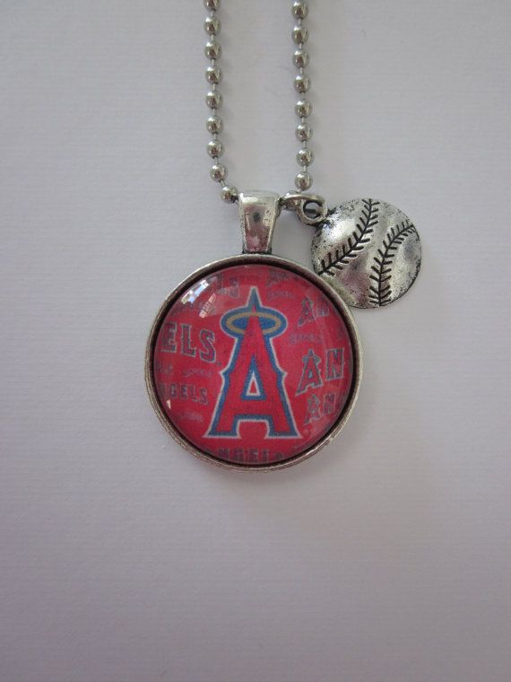 Angel Baseball Glass Pendant Necklace With by CharmedDesignsByJC, Purchase at https://www.etsy.com/listing/115761523/angel-baseball-glass-pendant-necklace