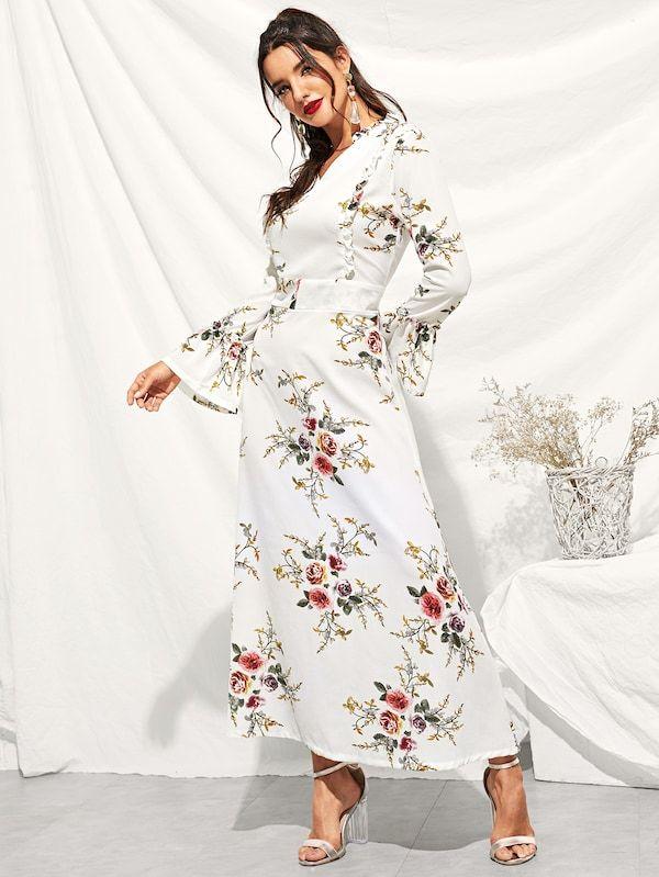 869b3088c2 Floral Print Ruffle Flounce Sleeve Dress -SHEIN(SHEINSIDE) | T ...