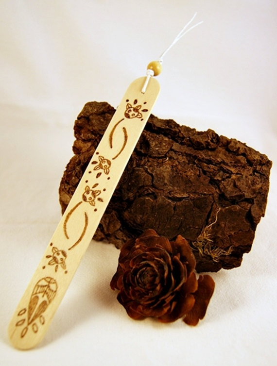 Bookmark  Wood  Natural  Pyrography  Abstract Flower A by SuniMam, €3,00