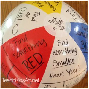 """Beachball designed for  """"Elements of Art Scavenger Hunt"""" for Grades 1 & 2"""