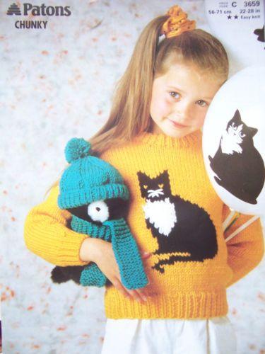 Knitting-Pattern-Patons-3659-Childs-CAT-MOTIF-SWEATER-22-28