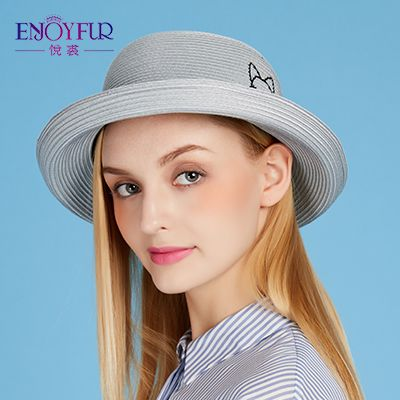 Women sun hat for Spring Summer hat straw sunscreen women hats with lovely cat big brim girls hat for vacation Love it? Visit our store