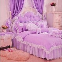 Wish | Luxury 100% Cotton Romantic Bedding Sets Lace Bed skirt Fairies Princess bedding Girls bedding set Twin Full Queen King size bedding