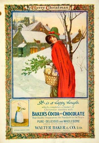 1916 Ad Vintage Baker's Cocoa Chocolate Christmas Girl Red Cloak Norman Price | eBay