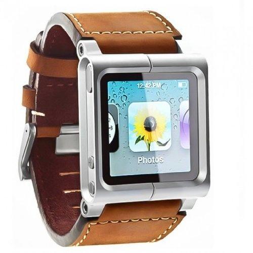 Leather Aluminum Watch Wrist Strap for iPod Nano 6G, $29.11