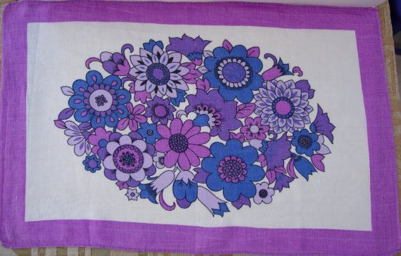 Retro 70s Folky and Funky Flowers Linen Tea by RaggleTaggleHawker, £19.99Retro 70S, Teas Towels, Vintage Wardrobe, Vintage Teas, Funky Flower, Flower Power, Linens Teas, Flower Linens, Retro Purple