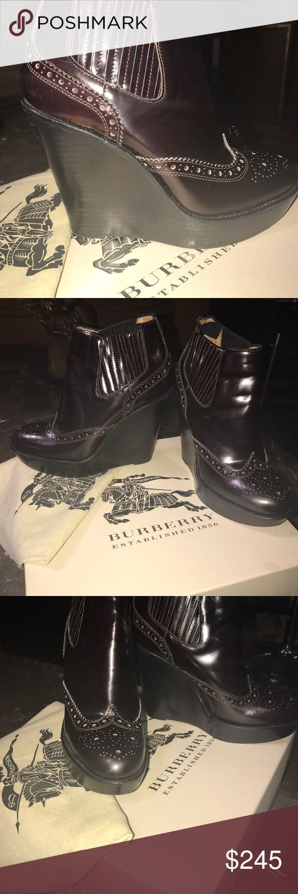 BURBERRY Brogue Chelsea detailed wedge ankle boots New condition / never used / box and dustbag included Burberry Shoes Ankle Boots & Booties