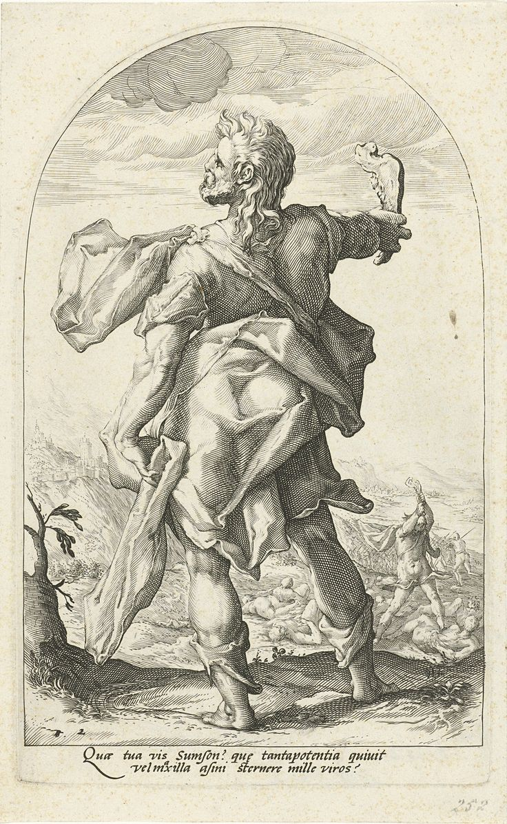 Simson, Hero of the Old Testament by Jacob Matham, 1585-1589. Rijksmuseum, Public Domain
