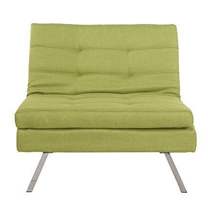 Asense Fabric Sofa Futon Tufted Single Seat Two Adjustable Back Position(343432, Green)Need Two of Them to Act as Futon