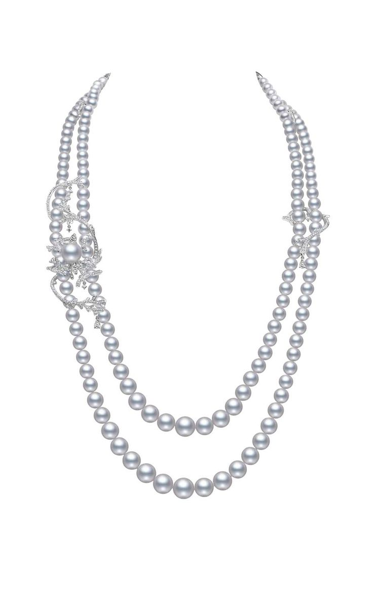 Mikimoto Regalia Collection Coral necklace featuring South Sea baroque pearls and diamonds in white gold. (The Jewellery Editor)