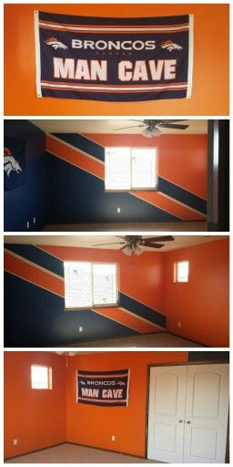 Denver Broncos Man Cave. My husband has been dreaming of this man cave for a really long time. He finally was able to make his dreams come true! He did an amazing job and we are so proud to have such a wonderful work of art in our new home to show our love and support for the Denver Broncos.
