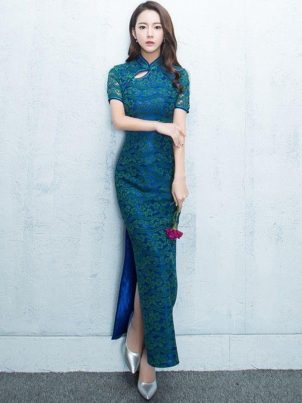Midnight Lace Qipao / Cheongsam Maxi Dress