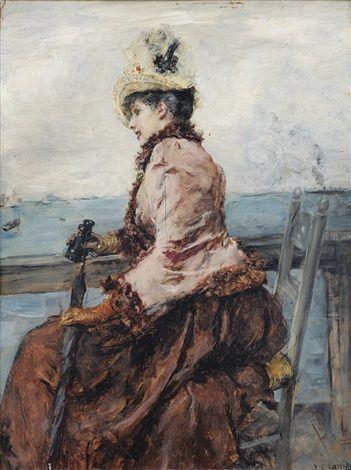 Elégante au bord de la mer by Eduardo León Garrido