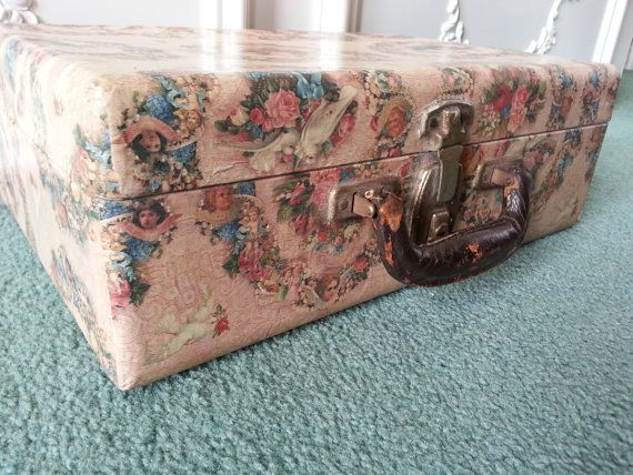 Vintage decoupage suitcase Victorian style by FogartyTreasures