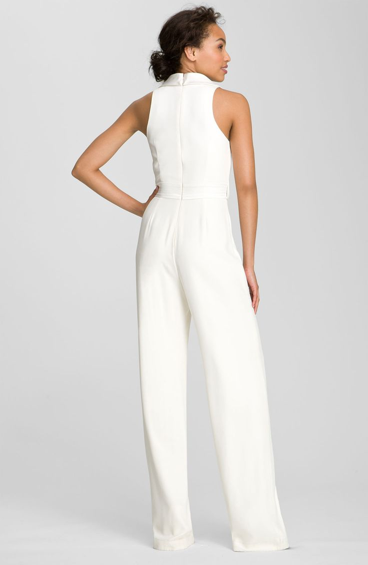 Bride party dress theia tuxedo style silk jumpsuit for All white wedding dress