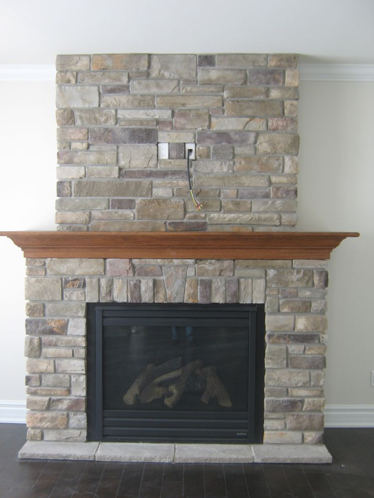 Country Ledge Stone Fireplace. I like this