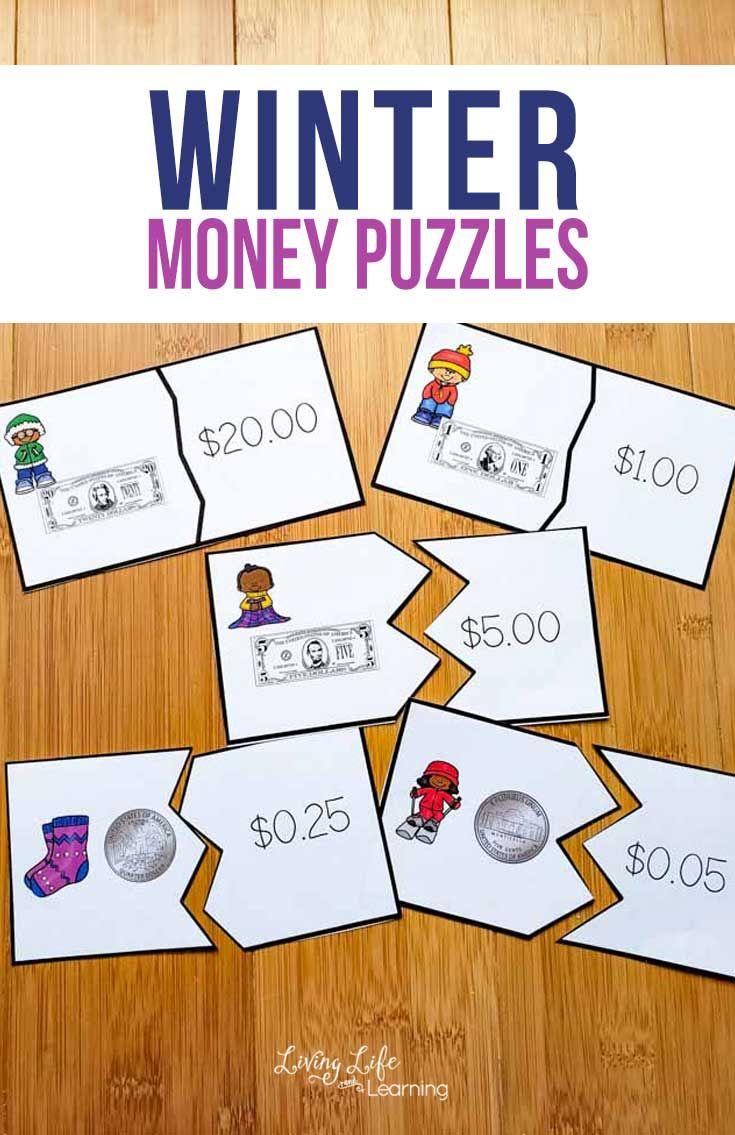 Printable Winter Money Puzzles Money Puzzles Kids Math Worksheets Money Math Worksheets [ 1135 x 735 Pixel ]