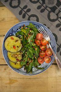 lamsoor met gegrilde aubergine. #recept #lamsoor