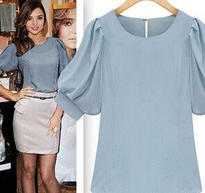 Women Shirts Women Roupas Summer Free Shipping Slim Fashion Women Clothes 2014 Puff Sleeve Short Sleeve Blouse
