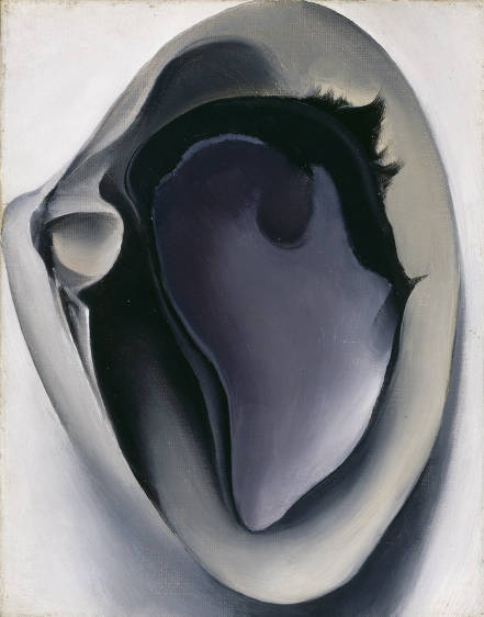 """""""Clam and Mussel"""" (1926) by American artist Georgie O'Keeffe (1887-1986). Oil on canvas, 7 x 9 in. via the Georgia O'Keefe Museum"""