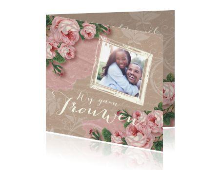 Trouwkaart vintage rozen en foto