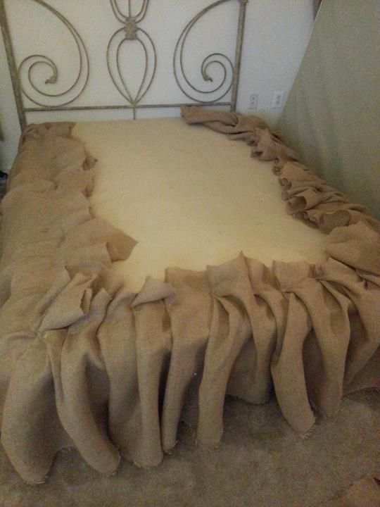 DIY Burlap Bedskirt--All you need is burlap (purchased at a fabric store) and upholstery pins to secure to the box spring. Easy! Or any fabric for that matter!