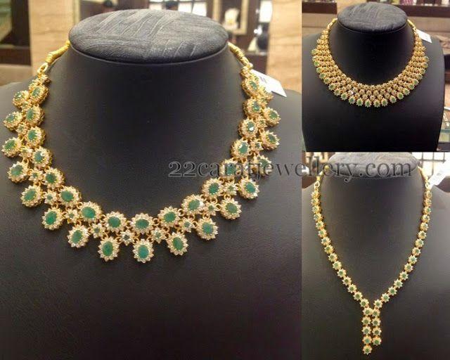 Jewellery Designs: Emerald CZ Necklaces Gallery