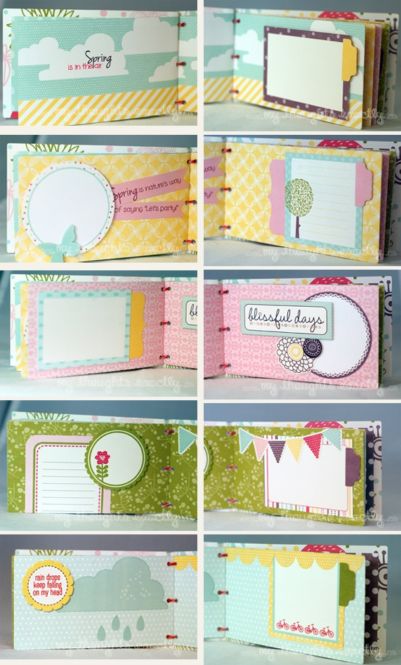 Spring mini album created using @Echo Brooks Brooks Brooks Brooks Park Paper's Springtime collection and My Thoughts Exactly stamps.