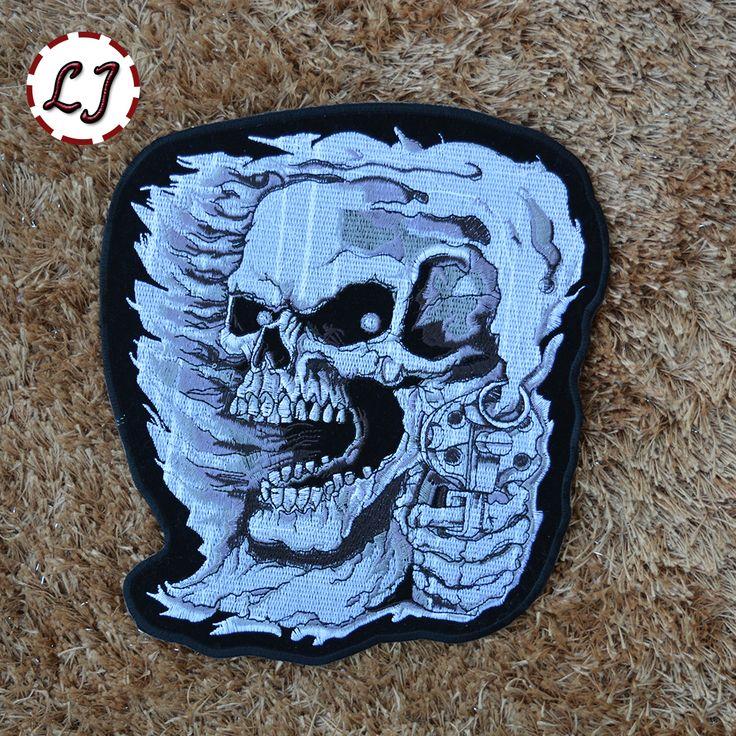 New arrive big size skeleton embroidered Iron On Patches punk Skull garment bag badge Appliques motoer jacket diy accessory