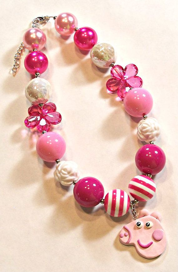 Peppa Pig Girls Chunky Necklace Pink Hot Pink by HauteTottiesBling, $23.00