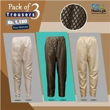 Buy 24hourspk Pack Of 3 Straight Trousers Jamawar    sweaty betty women's sportswear  women's sportswear sale  women's sportswear brands  mens sportswear  sportswear online  womens gym wear  gym leggings  pink soda