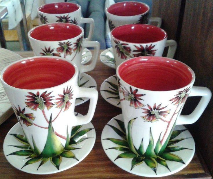 Set of 6 red Aloe cups and saucers. #aloe #red #cups # decor