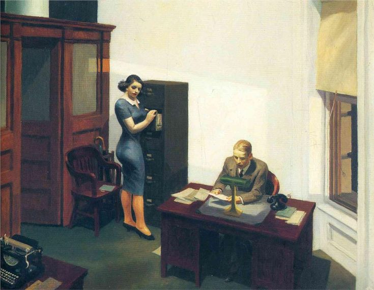 Edward Hopper - Office at night, 1940. Image used in the film. The wind blows through the window and a piece of paper blows off the desk, she stoops to pick it up. She is working as his secretary but in her mind she is practicing for the role of a secretary in some future play.