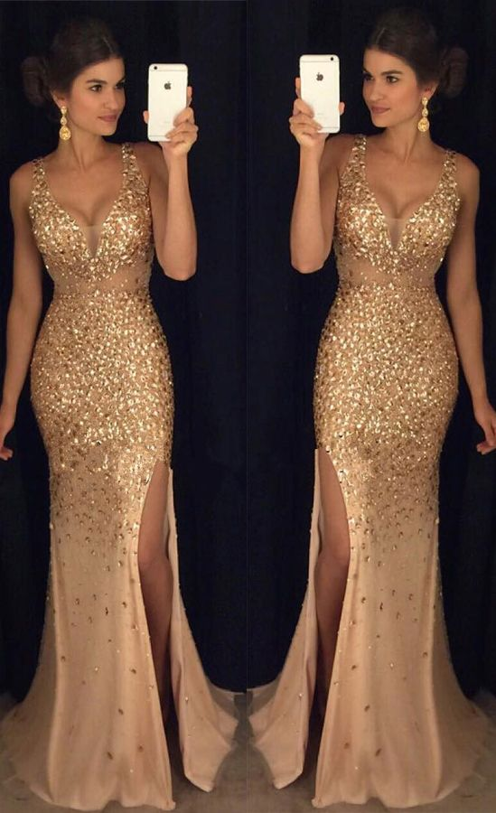New Arrival Mermaid Prom Dresses,Deep V Neck Prom Dress 2017,Off the Shoulder Champagne Sequin Prom Dresses,Front Slit Evening Prom Gowns,Sexy Long Evening Dresses