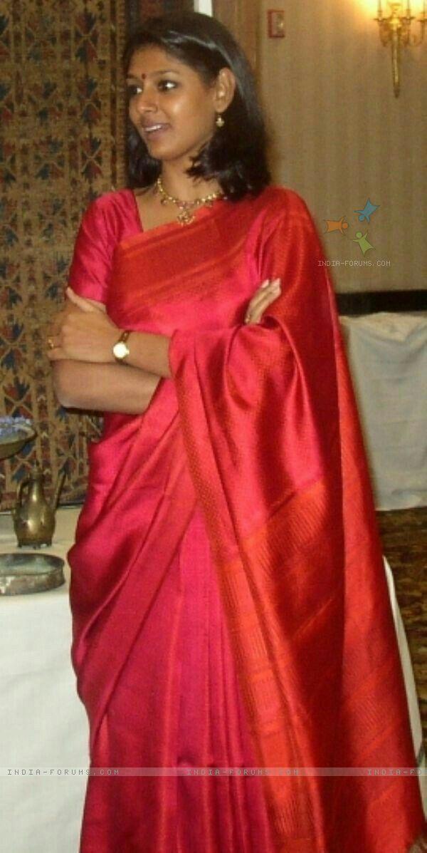 Graceful Nandita Das in Red Saree.