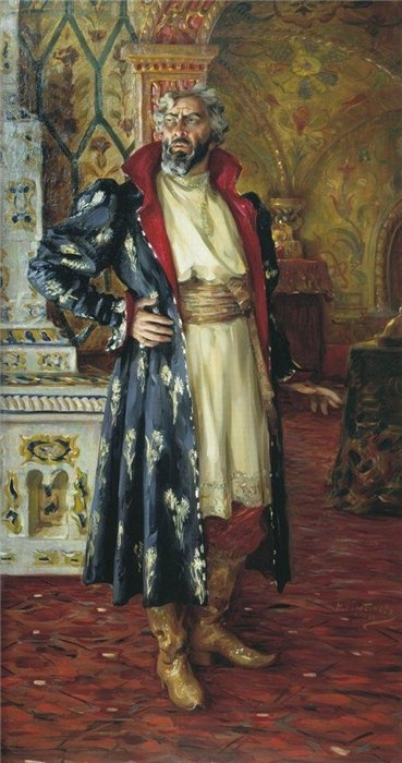The suit and apartments of a Russian noble in the 17th century.  The portrait of Feodor Shalyapin performing Boris Godunov, 1916, by Kharitonov.