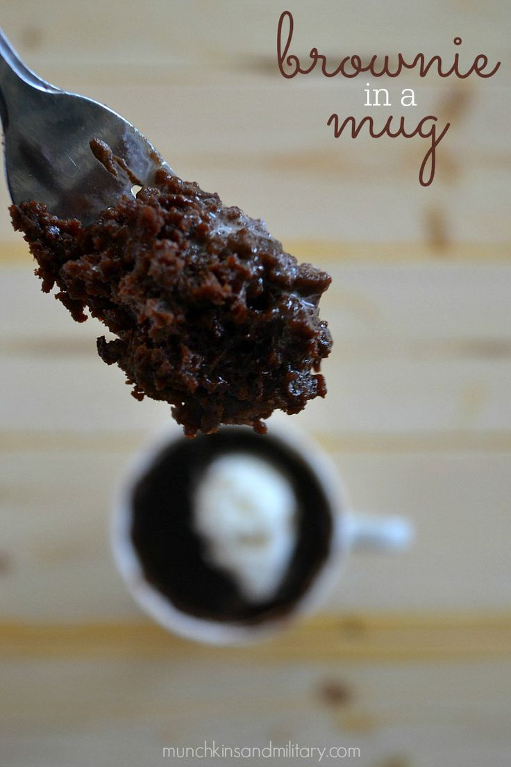 The best brownie in a mug recipe that Kim mentions in her post! Shout out to Muchkins and the Military!