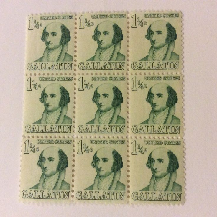 Unusual 1-1/4 cent US stamp honoring Gallantin