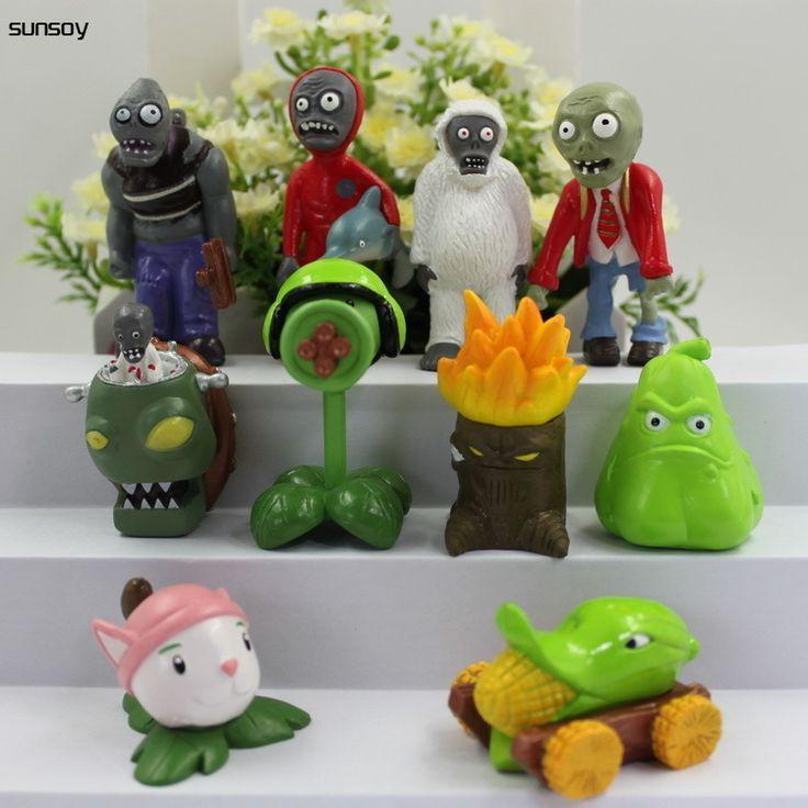 10Pcs/Lot Plants Vs Zombies Action Figure Popular Cartoon PVC Toys 4-7CM Plants Vs Zombies 2 Figure Set Collection Figures Toys #Affiliate