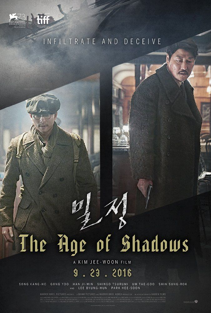 Directed by Jee-woon Kim.  With Byung-hun Lee, Yoo Gong, Kang-ho Song, Ji-min Han. Set in the late 1920s, The Age of Shadows follows the cat-and-mouse game that unfolds between a group of resistance fighters trying to bring in explosives from Shanghai to destroy key Japanese facilities in Seoul, and Japanese agents trying to stop them. A talented Korean-born Japanese police officer, who was previously in the independence movement himself, is thrown into a dilemma between the ...