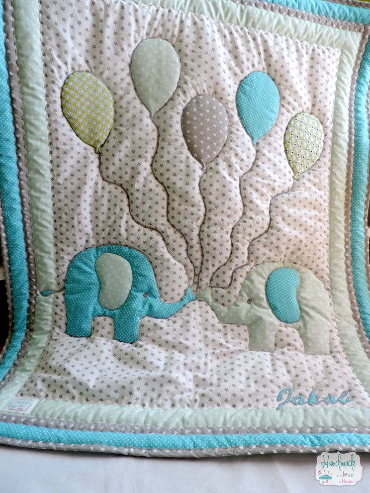 Custom made lovely patchwork nursery bedding with elephant appliqué. Quilt, baby quilt, blanket, bumper, pillow. Blue, mint, white, grey, silver. Order here: www.facebook.com/handmadebynaomy