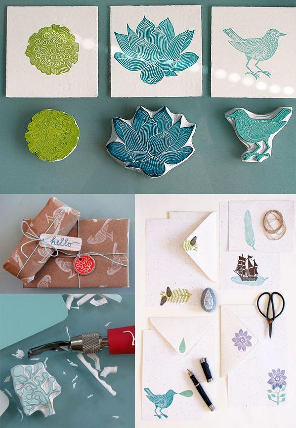Do you follow Geninne's Art Blog? Her work is sooo inspiring... Love these handmade stamps!