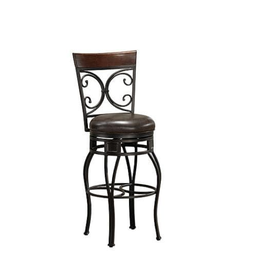 American Heritage Billiards Treviso Extra Tall Stool Treviso 49.5 Extra Tall Metal Frame Bar Stool, Pepper (Leather)