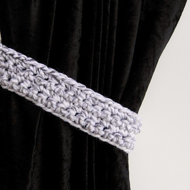 One Pair Of Black White Light Gray Curtain Tiebacks Marbled