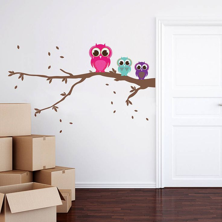 patterned owls on a branch wall sticker set by spin collective | notonthehighstreet.com