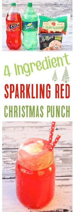 Punch Recipes make the best Easy Party Drinks!  This 4 Ingredient Sparkling Red Christmas Punch Recipe is so delicious, and always the hit of the party!  Add it to your holiday menus this year for a quick and simple crowd pleaser!